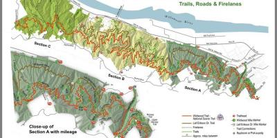 Mapa do Parque Florestal de Portland-Oregon